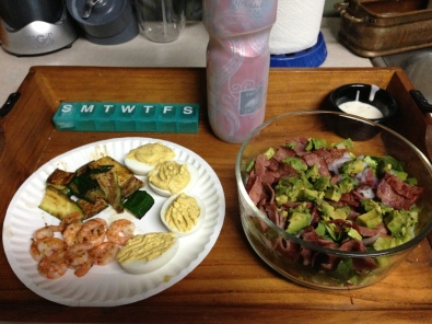 grilled shrimp, grilled zucchini, deviled eggs made with yogurt, lettuce, spinach, red onion, avocado, turkey bacon, organic cilantro lime ranch dressing